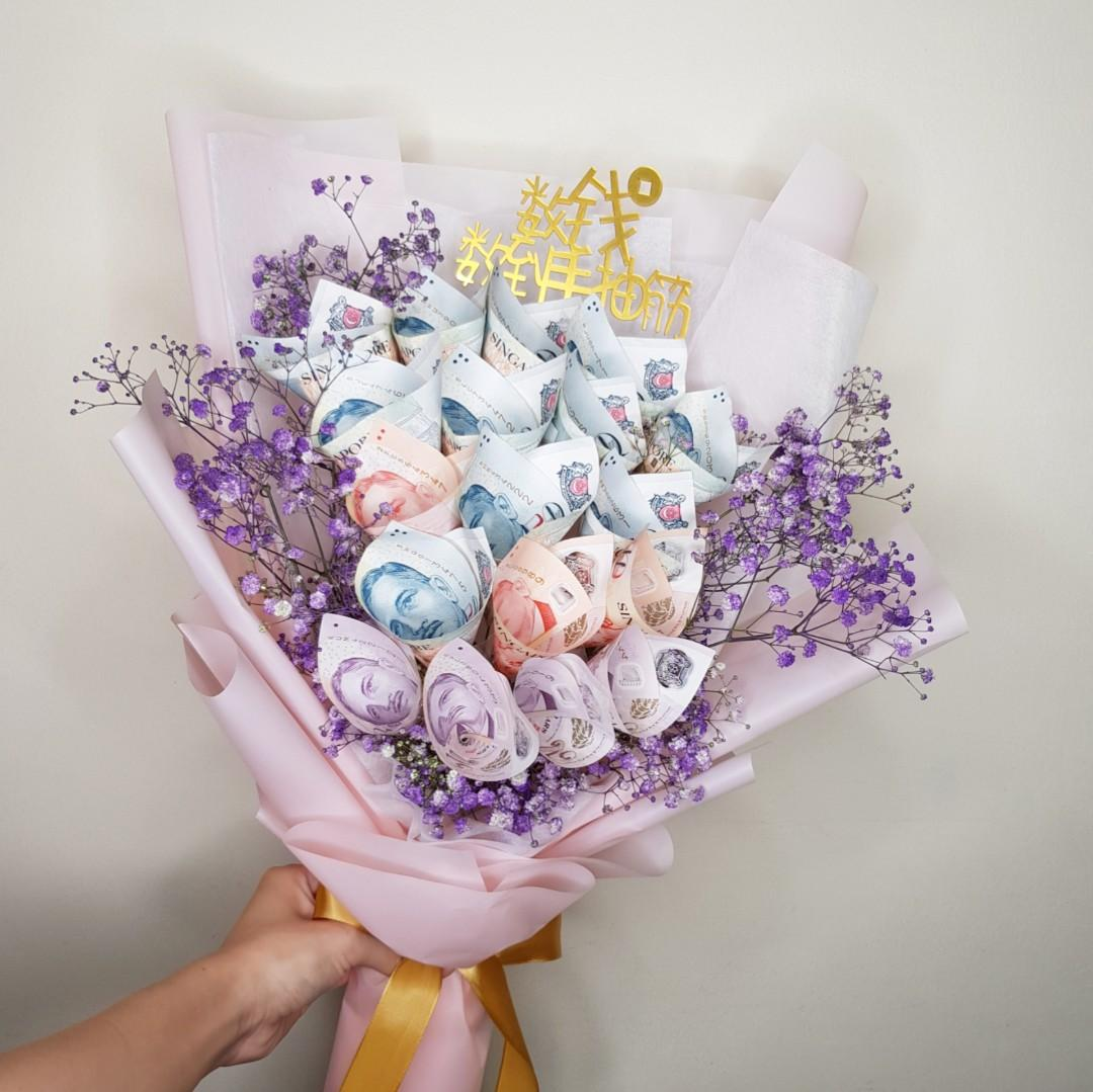 Money Fresh Flower Bouquet For Celebration Lover Birthday Gardening Flowers Bouquets On Carousell