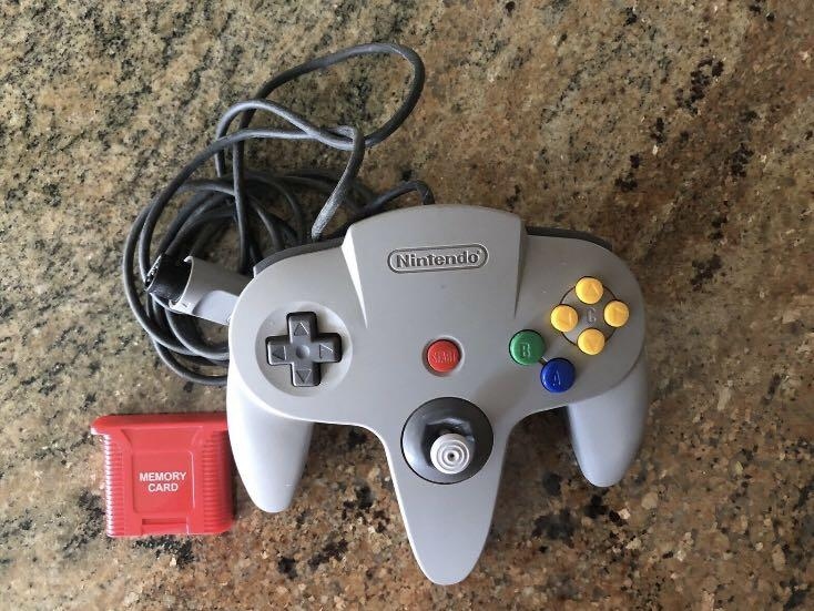 Nintendo 64 Contoller Grey With Memory Card