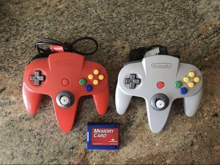 Nintendo N64 Pair Of Controllers- 1 Red & 1 Grey -tested and working