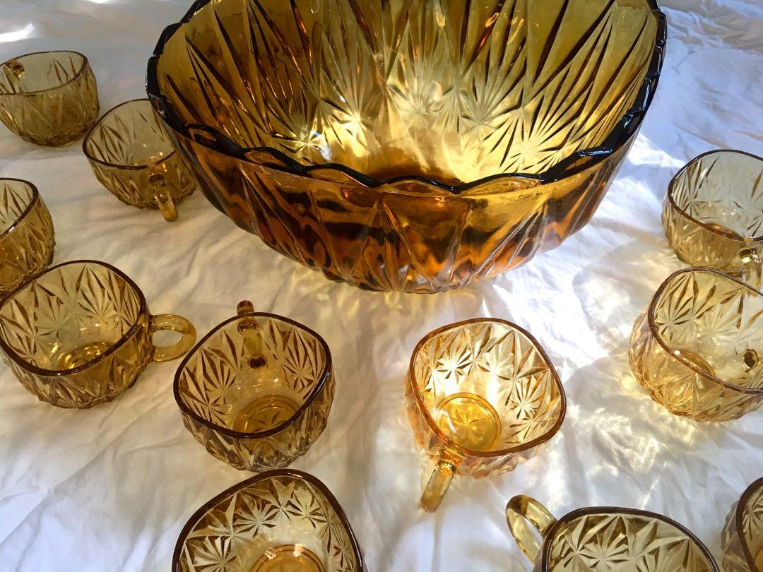 Vintage Amber Glass 13pc Punch Bowl Set