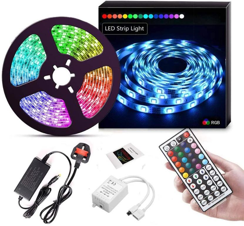 1M-5M LED Strip Lights 5050 RGB Colour Changing with Remote Control UK Plug