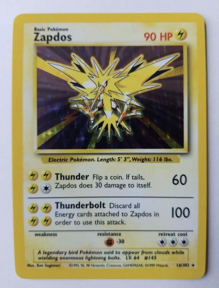 ZAPDOS - 16/102 - Base Set - Holo - Pokemon Card - Near Mint NM