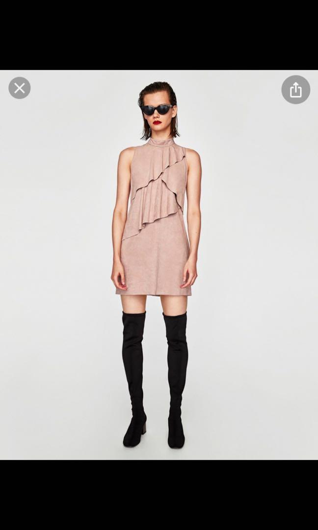 Zara pink suede dress, size S