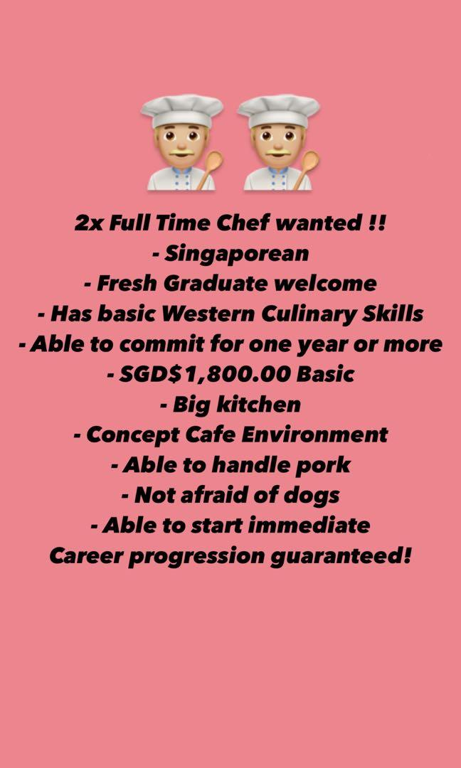 2x Cafe Western Culinary Chef Wanted !!