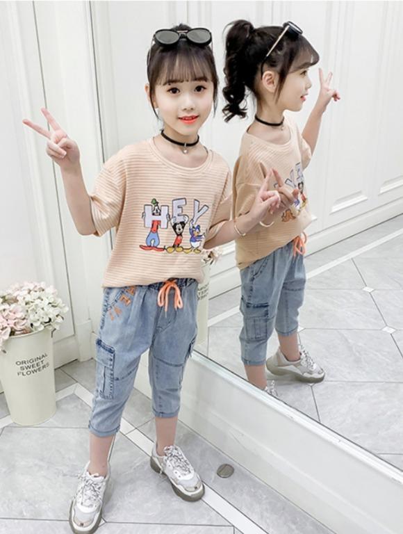 中大童韓版時髦女孩卡通印花短袖+7分褲套裝