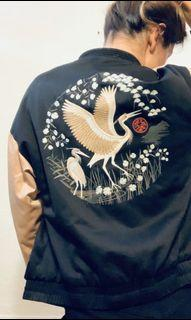 Embroidered Crane Bomber Jacket