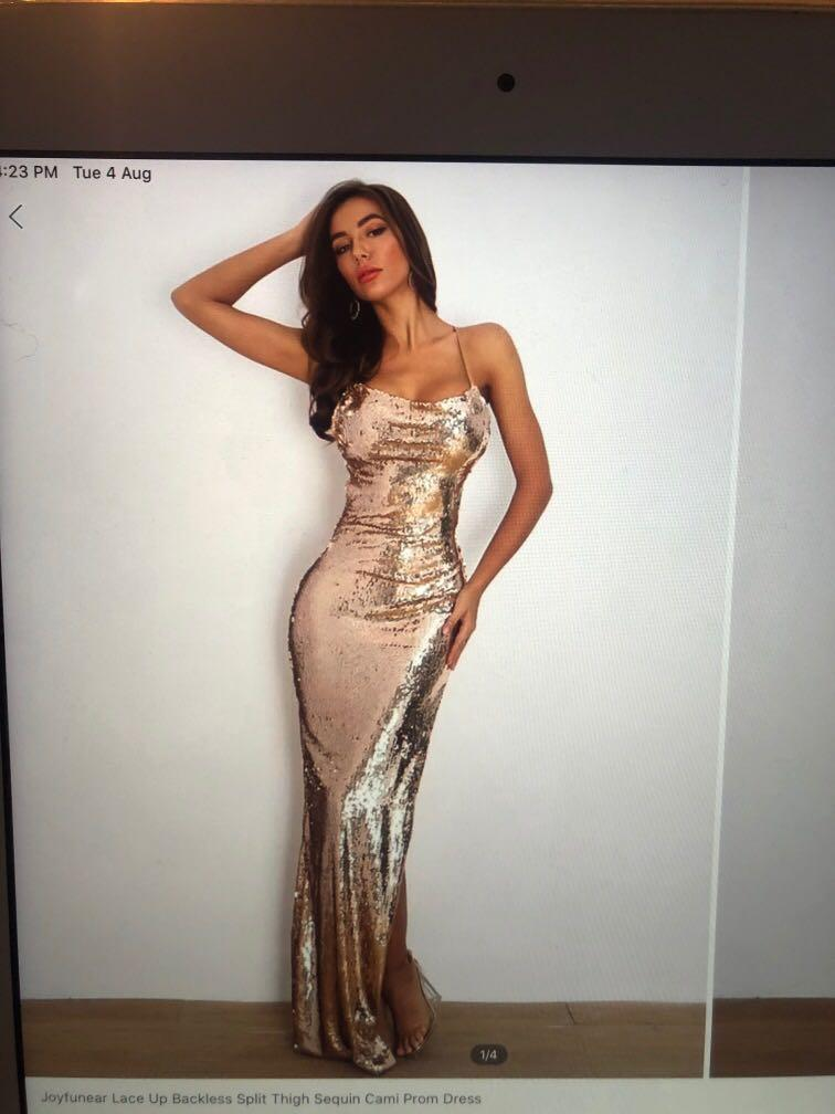 Gold glittery ball dress (SHEIN)