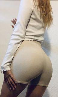 HIGHLY REQUESTED Ribbed Beige Biker Shorts