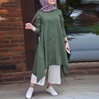 (Pre order)S-5XL ZANZEA Women Muslim Long Sleeve Button Down Irregular Hem Long Dress