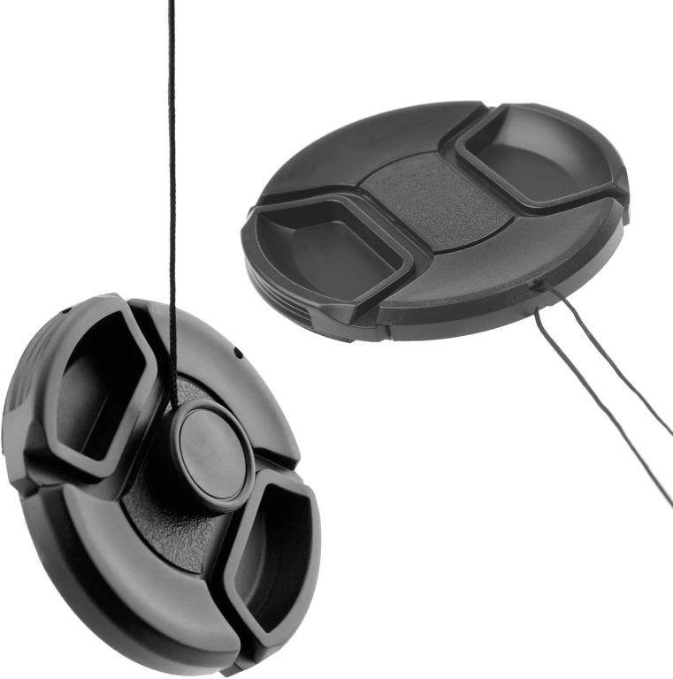 Snap-on Lens Cap Cover with secure strap for DSLR Cameras: Nikon, Canon, Sony (Size 77 mm)
