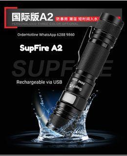 國際品牌神火 SupFire A2 袖珍强光手電筒 1000 流明,USB 直充。