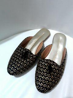 Black and Gold SlipOns from India