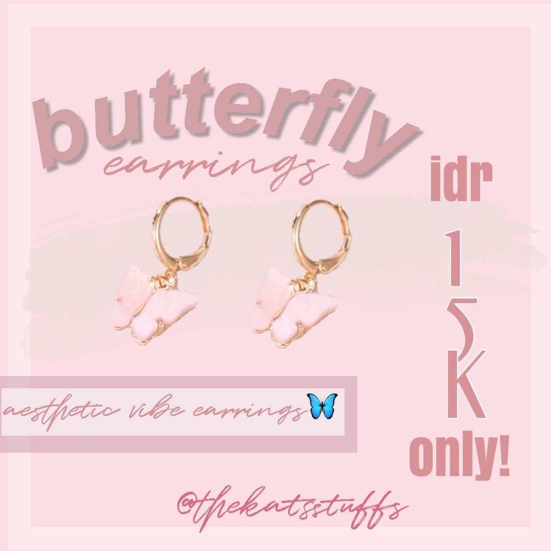 BUTTERFLY EARRINGS/ANTING LUCU AESTHETIC MURAH