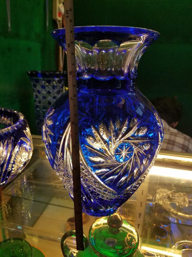 keristal bohemia blus vase 25cm