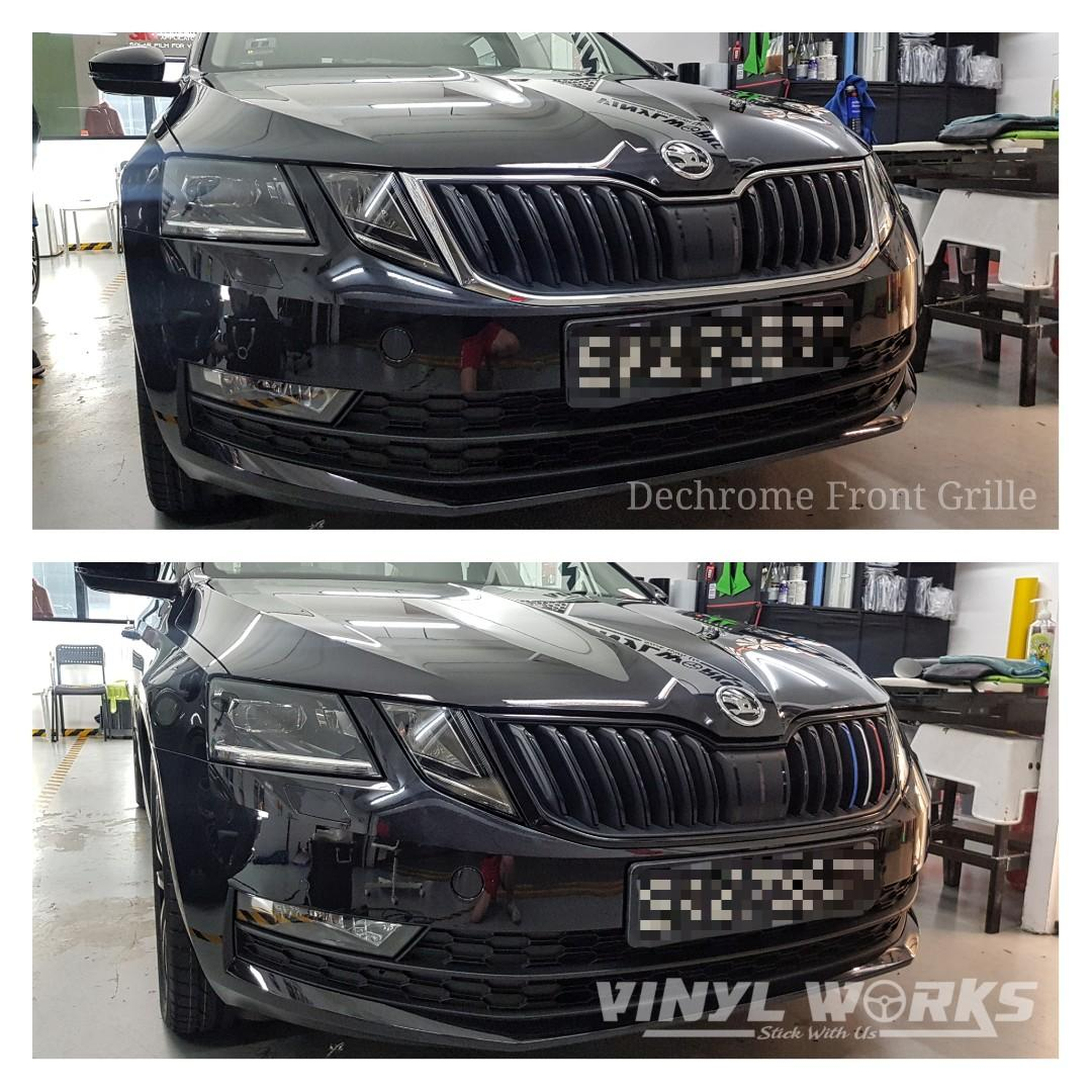 Skoda Octavia Front Grille Wrap Gloss Black Vinyl Sticker Car Accessories Car Workshops Services On Carousell