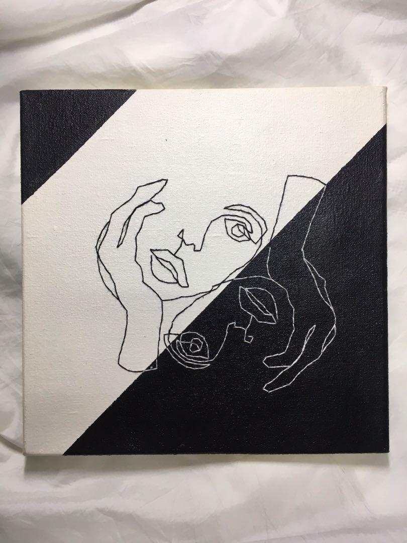 Lukisan Line Art Black and White