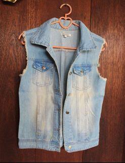 Blue Denim Sleeveless Jacket