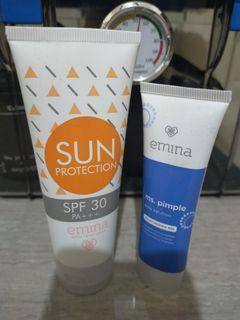 emina sun protection & emina moisturizing gel