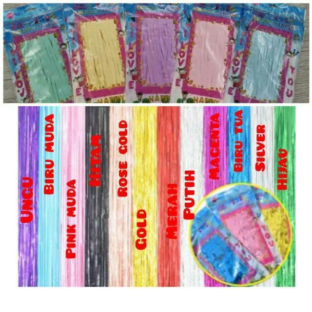Foil curtain / Tirai Rumbai 2x1m glossy & Pastel