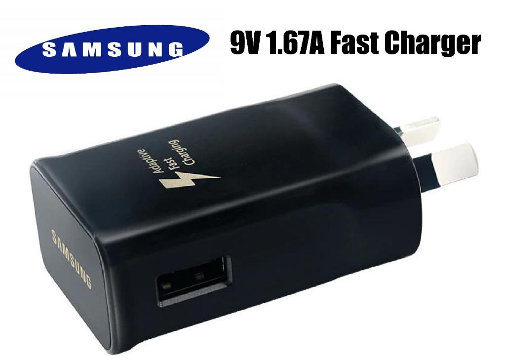 Genuine Samsung Adaptive Fast Charge Wall Travel Adapter 9V, Black in Retail Box