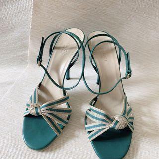 Gucci 湖水綠 高跟鞋 高跟涼鞋