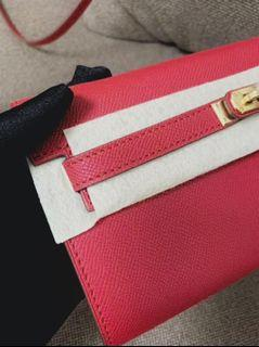 Hermes Kelly To Go with Gold Hardware in Deep Red