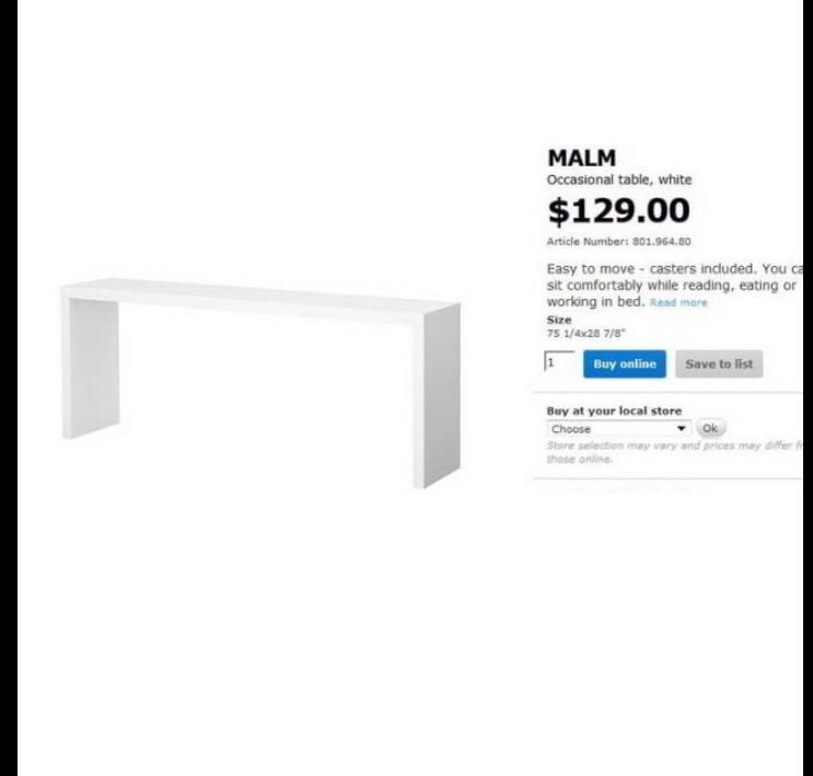 Ikea Malm Occasional Table With Wheels Furniture Tables Chairs On Carousell