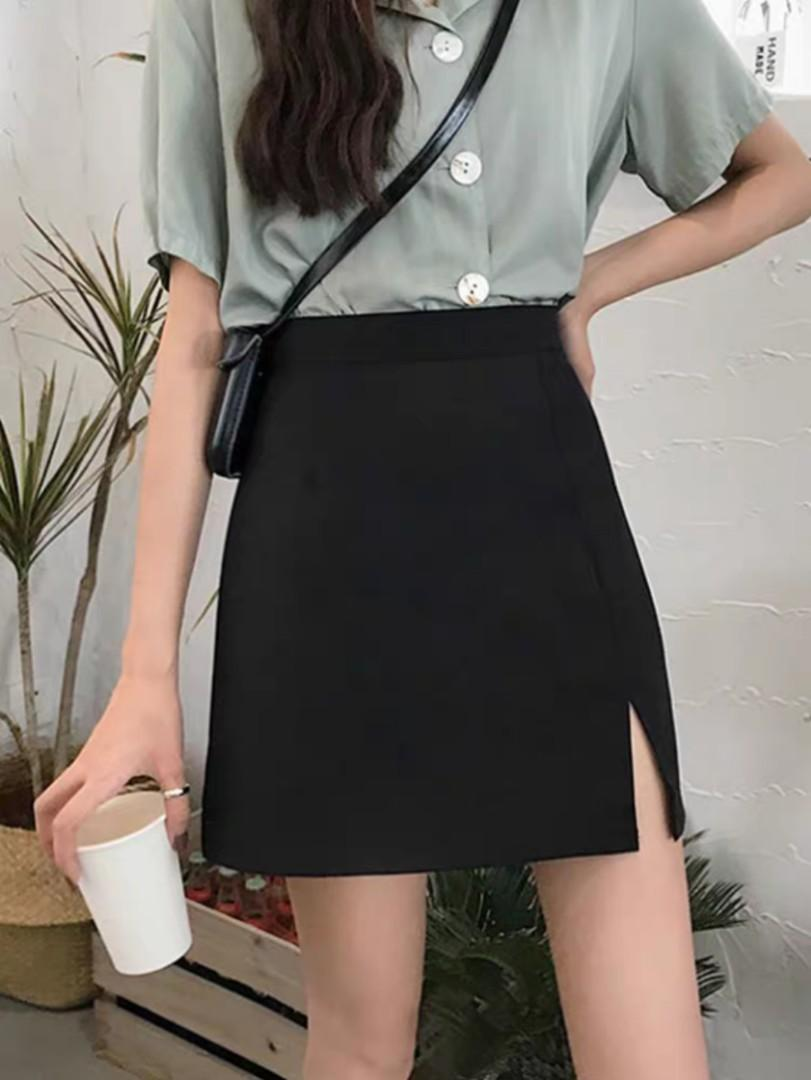 korean uzzlang black skirt with slit, Women's Fashion, Bottoms ...