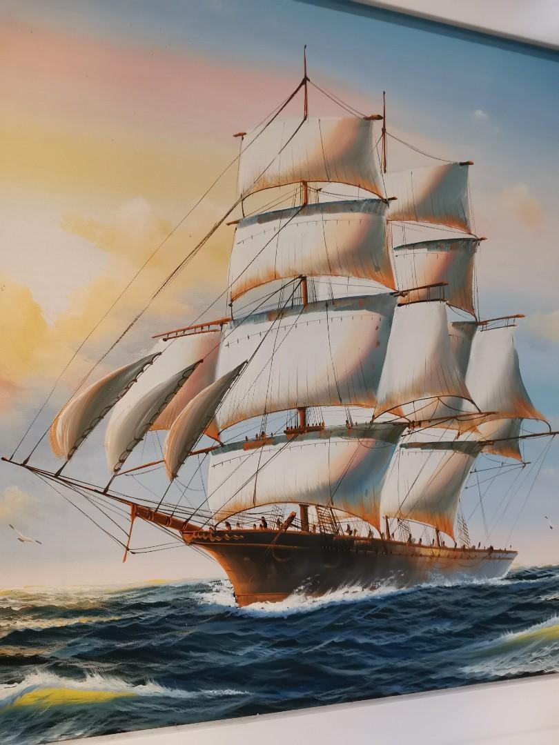 Lukisan Kapal Laut Desain Kerajinan Tangan Karya Seni Di Carousell