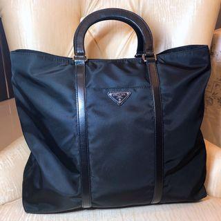 Prada 尼龍方包 媽媽包 大包 旅行袋 有斜背帶