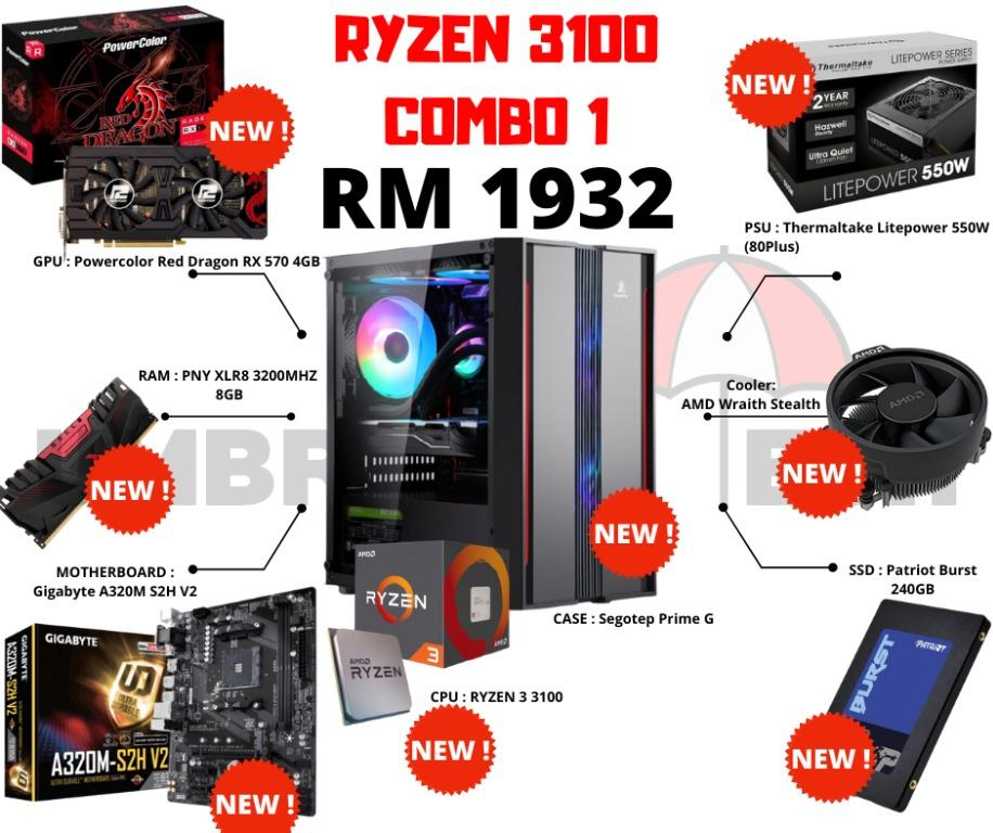 Ryzen 3100 Gaming Pc Combo 1 Rx 570 Radeon Amd Red Dragon Electronics Computers Desktops On Carousell