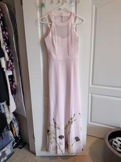 Ted Baker Dress - Halter Sweetheart Sheer Baby Pink Floral