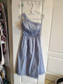 Ted Baker Dress - Blue Embroidery Off-Shoulder