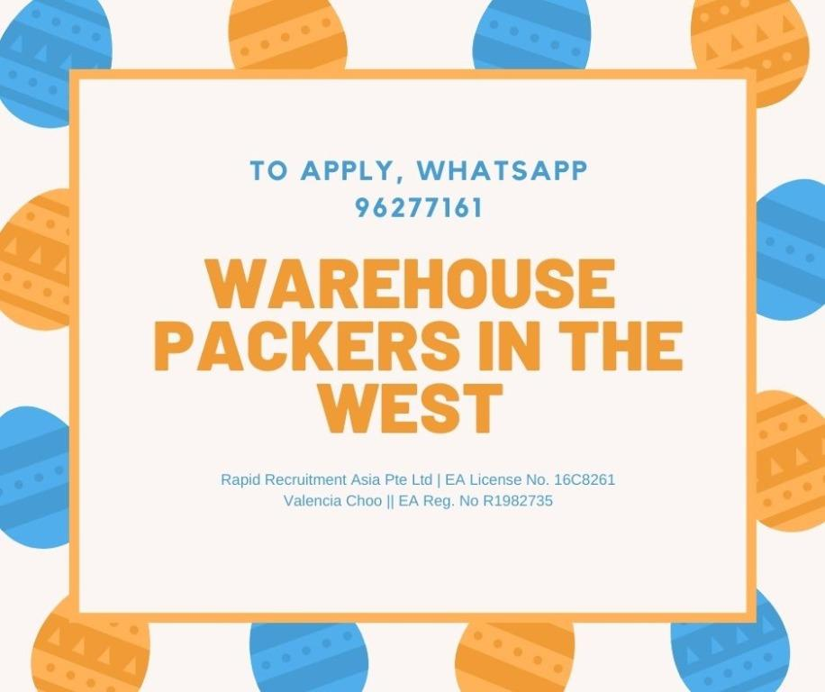 WAREHOUSE PACKERS ($7-$12/HR, 1-3 MONTHS CONTRACT)