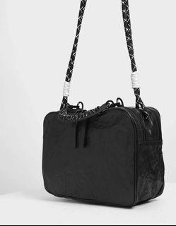 Charles & Keith Rope Handle Wrinkled Effect Shoulder Bag