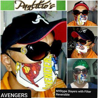 BUY1 TAKE1 Limited Edition 3Layers N95 TypeFace Mask Design#082 AVENGERS fits❤all washable with built in washable filter REVERSIBLE