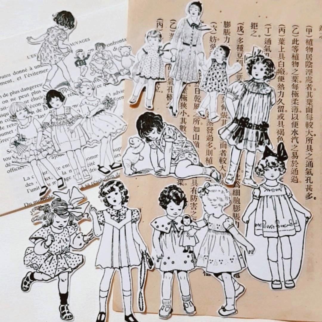 Vintage Black & White Girls Sticker