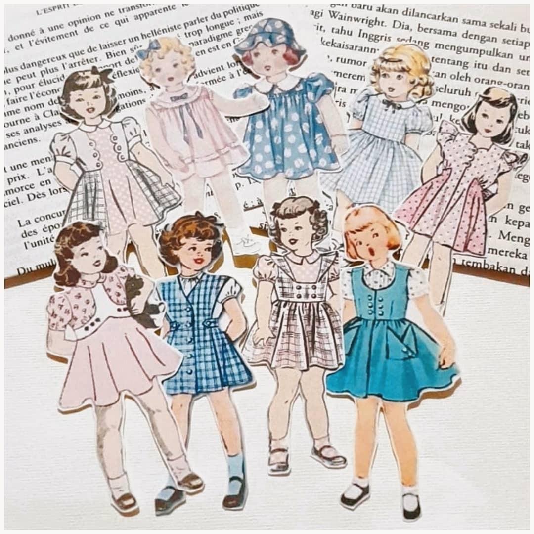 Vintage Little Girls Sticker for Journal, Craft, Dll
