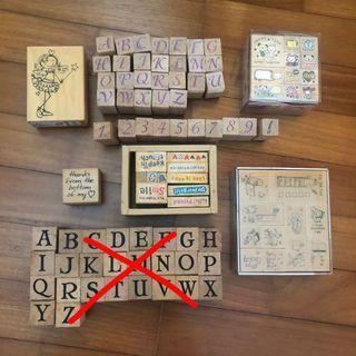 Wooden stamps alphabet, todo list, thanks, cute stamps