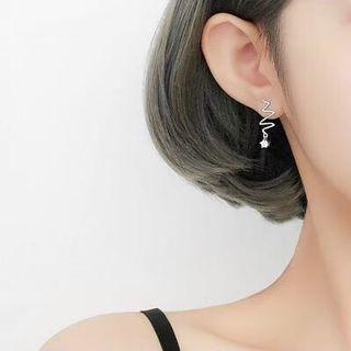 925銀針鑲鑽心電圖案造型耳針