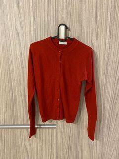 質感紅色針織外套