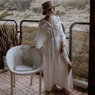轉賣 35號沙丘 狩獵風白色襯衫洋裝 F