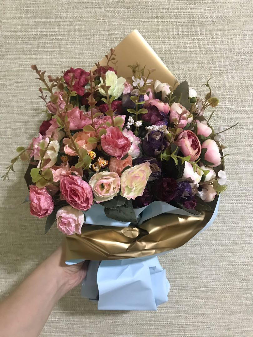 Artificial Flowers Bouquet Bunch Roses Camellias Gardening Flowers Bouquets On Carousell