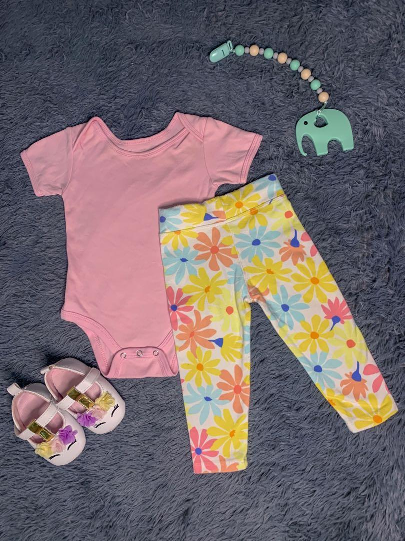 Baby Set Leggings And Onesies Pink And Yellow Babies Kids Babies Apparel On Carousell