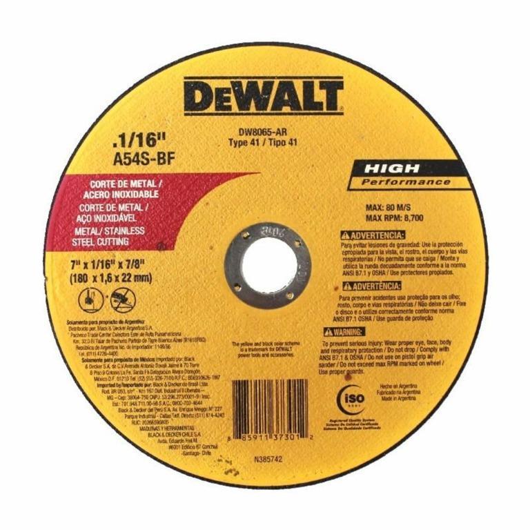 DeWALT DW8065-AR 7''x1/16 x 7/8'' Metal/Stainless Cutting Disc Wheel