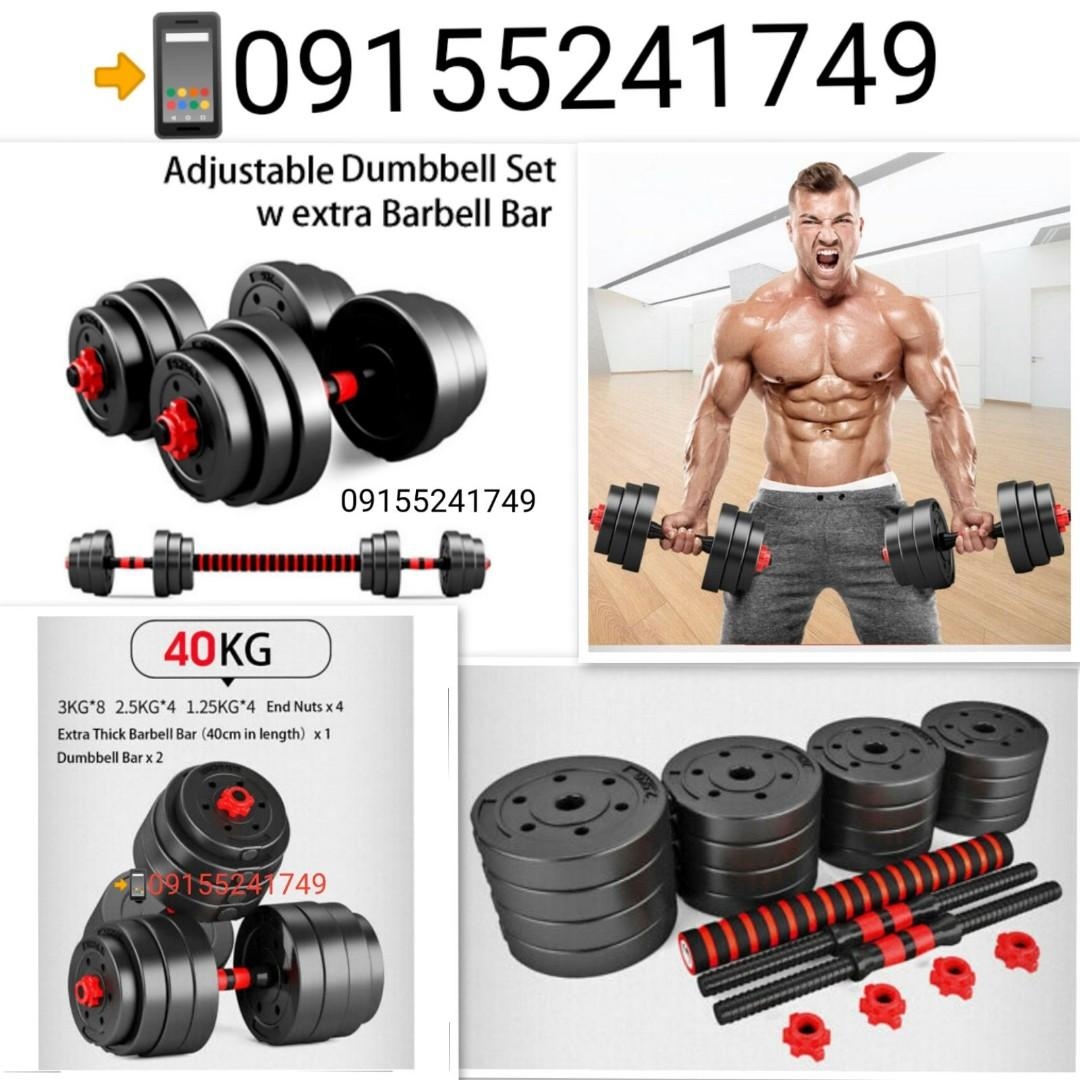 2pcs 40cm Dumbbell Bars with 4x Spinlock Collars Dumbbell Hand Bars for Workout