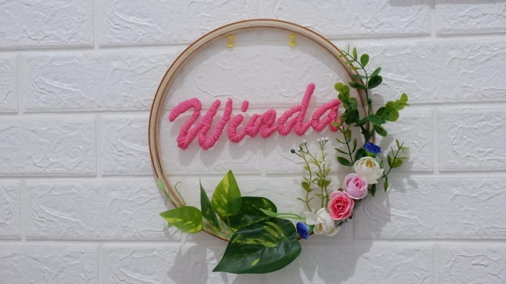 Hoop Wreath Kado Custom Sulam Nama/Hiasan Dinding/Gift Custom Sulam Wall Decor