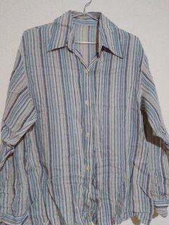 🎁買就送 復古藍條紋寬鬆顯瘦長袖襯衫 #newlook