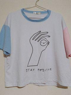 🎁買就送 粉藍撞色落肩微短版上衣 短袖T恤 #newlook