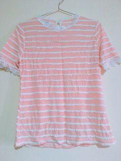 日系荷葉條紋蕾絲領粉嫩短袖上衣 T恤
